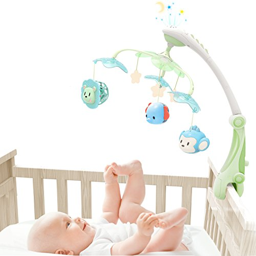 GrowthPic Musical Baby Crib Mobile with Star Projector Nursery Function, Foldable Arm, Hanging Rotating Infant Playing Teether and Loudspeaker with 30 (Take Along Mobile)