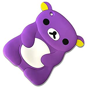 "Candy Violet Purple {Cute Anime Cartoon Teddy Bear} Soft and Smooth Silicone Cute 3D Fitted Bumper Back Cover Gel Case for iPad Mini 1, 2 and 3 by Apple ""Durable and Slim Flexible Fashion Cover with Amazing and Creative Cartoon Design - All Ports Accessible"""