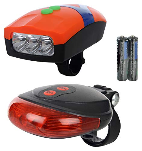 Dark Horse Bicycle 3 LED 3 Mode Front Light   Horn   2 Laser Beams Tail Light Combo