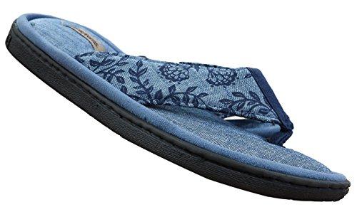Dearfoams Women's Mixed Material Thong Sandal,Denim Print Chambray,US 9 M