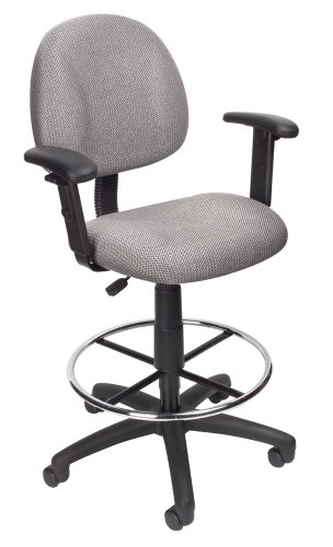 Sensational Boss Office Products Ergonomic Works Drafting Chair With Adjustable Arms In Grey Creativecarmelina Interior Chair Design Creativecarmelinacom