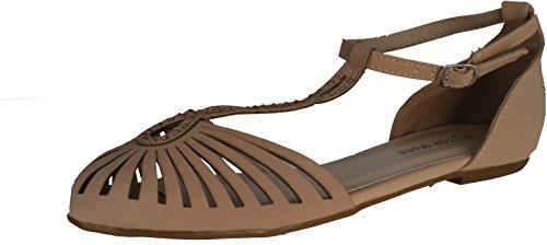 Top Moda END-33 Women's T-strap Almond Toe Flat Sandals,8.5 B(M) US,Blush