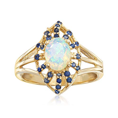 (Ross-Simons Opal and .80 ct. t.w. Sapphire Ring in 14kt Yellow Gold)