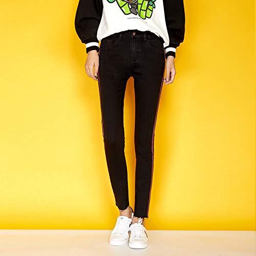 Length Full Stripe Taille Élastique Rlwfjxh Crayon Size Black Femmes Femme Jeans L Side D'automne Plus Maigre Mid Style IbY7gyv6fm