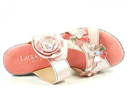 Laura Vita SL3036-5A Beaute 05 Zuecos fashion de cuero mujer Rosa