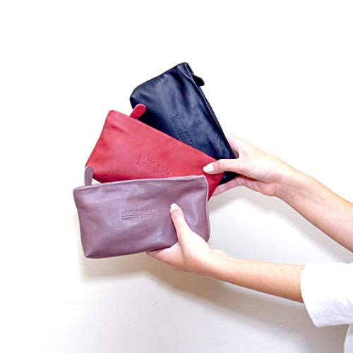 Soft black Leather Pouch Makeup case women Red Small clutch zipper wallet purse Grey cosmetic bag