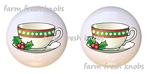 Teacup Knob - SET OF 2 KNOBS - Christmas Teacup - Kitchen by Alenka - DECORATIVE Glossy CERAMIC Cupboard Cabinet PULLS Dresser Drawer KNOBS