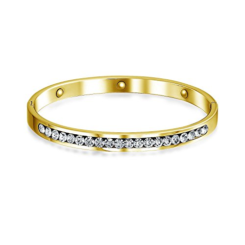 Channel Set White Cubic Zirconia CZ Stackable Bangle Bracelet for Women Prom Weddings Gold Plated Stainless Steel