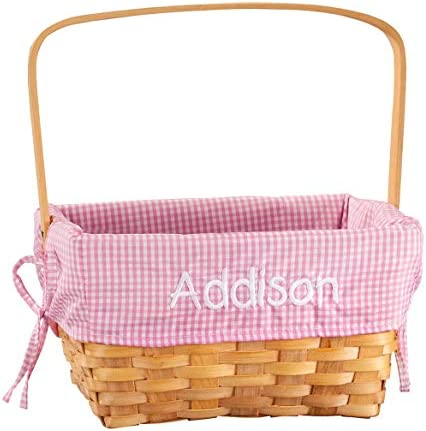 Fox Valley Traders Personalized Pink Gingham Wicker Easter Basket