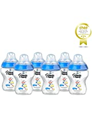 TOMMEE TIPPEE Feeding Bottles, 260ml, Blue (Pack of 6)