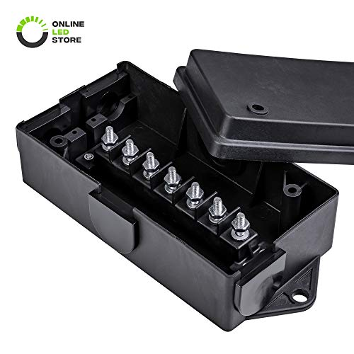 (ONLINE LED STORE 7-Port Trailer Wiring Junction Box [Steel Studs] [Stickers Included] [Weatherproof] Trailer Wire/Cable Connection Box)