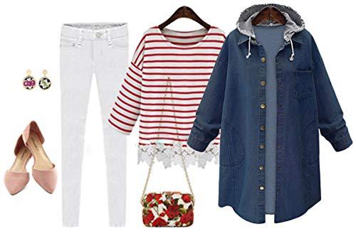 Innifer Women's Casual Long Denim Coat with Hood Long Sleeve Windbreaker Plus Size Jean Jacket Outwear by Innifer (Image #2)