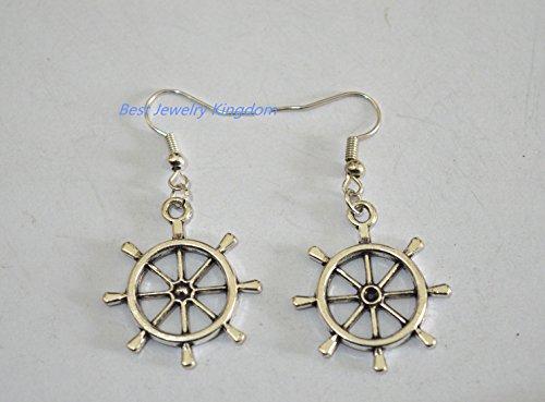Ship Wheel Earrings, Ship Rudder Earrings, Antiqued Silver Nautical Earrings, Personalized Birthstone Earrings
