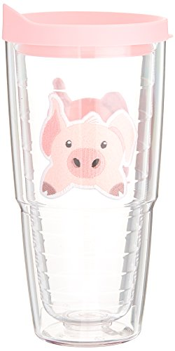 Tervis 1133496 Front & Back Pig Insulated Tumbler with Emblem and Pink Lid, 24 oz, Clear
