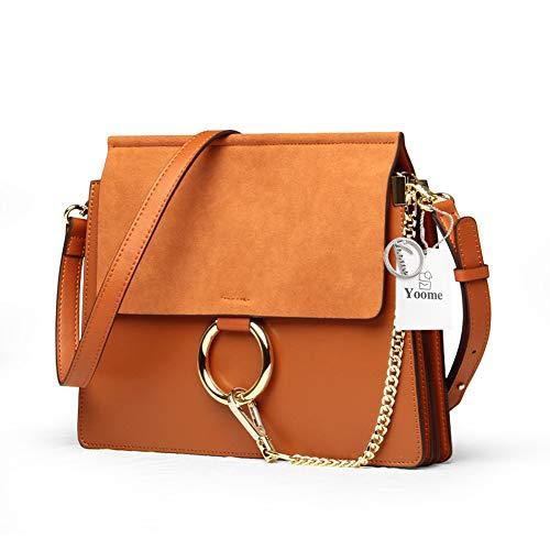 Yoome Women Genuine Leather Crossbody Shoulder Purse Chain Messenger Bag for Girls Split Fashion Clutch