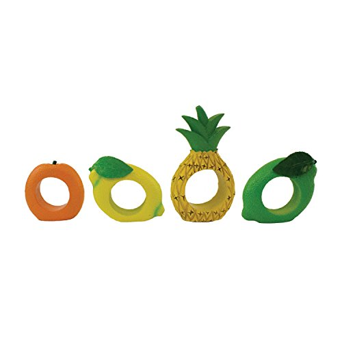 Beachcombers SS-BCS-20891 4.5x1 inch Resin Tropical Citrus Fruit Napkin Rings Set, Multicolored