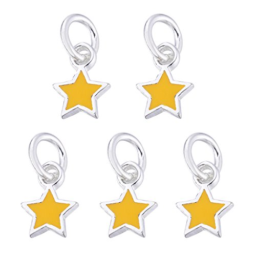 5PCS 925 Sterling Silver Star Charm Finding for Jewelry Making 9mmx6.5mm