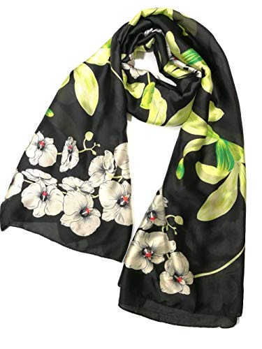 (Shanlin Silk Feel Long Satin Floral Scarves for Women (Orchid-Black))