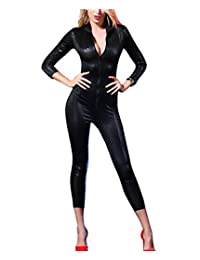 Women's Snakeskin One Piece Catsuit Skinny Bodysuit Sequin Costume Clubwear