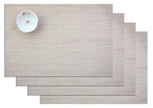 ZebraSmile Set of 4 Anti-Skid Heat-Resistant Stain Resistant Dinner Table Mat Washable Non-Slip Woven Textilene PVC Placemats for Home Kitchen Dining Table Heat Insulation Place Mats, Off White