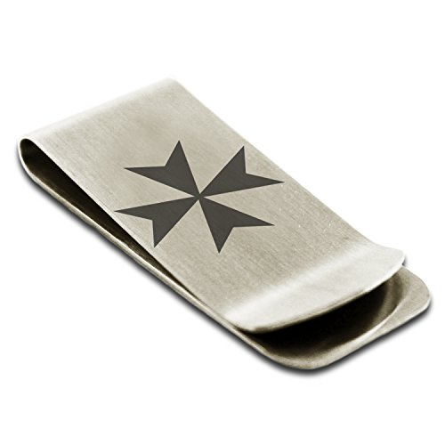 Maltese Money Clip (Stainless Steel Maltese Cross Symbol Engraved Money Clip Credit Card Holder)