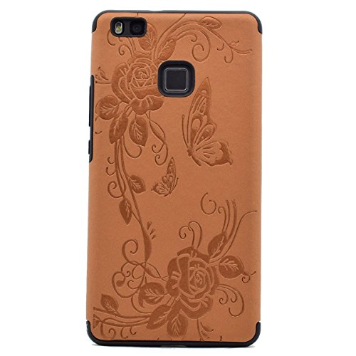 inShang Huawei P9 Lite,Ascend P9 Lite case Funda y Carcasa para Huawei P9 Lite case Huawei P9 Lite móvil, Ultra delgado y ligero Material de TPU, carcasa posterior (Back case) con , Brown butterfly flower