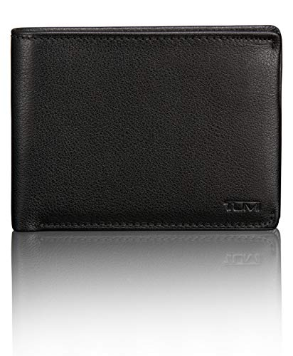 TUMI Men's Nassau ID Lock Double Billfold Wallet, Black Textured, one size