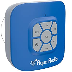 AquaAudio Cubo – Portable Waterproof Bluetooth Speaker with Suction Cup for Showers, Car, etc. - Pairs with All Bluetooth Devices + Siri Compatible - 10 hours Playtime/ Built-in Mic (Blue)