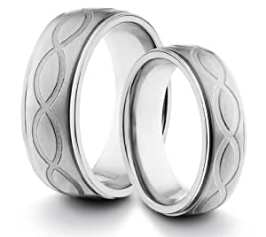 His & Her's 8MM/6MM Titanium Comfort Fit Wedding Band Ring