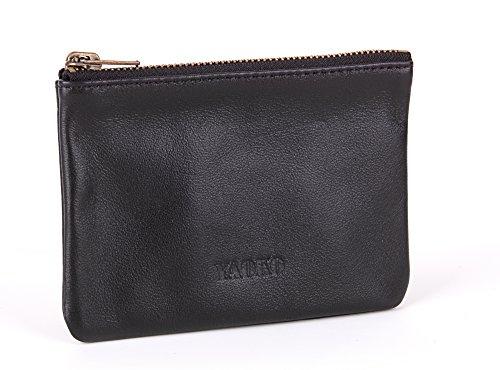 Yaoko 100% Handmade Genuine Sheepskin Leather Luxury Soft Zippered Coin Pouch Purse Credit Card Wallet (Short Style, Style1-Black) (Sheepskin Womens Wallet)