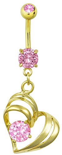 14kt Gold Plated Surgical Steel Pink CZ Simulated Diamond Double Heart Dangle Belly Button Ring 14kt Diamond Heart Navel Jewelry
