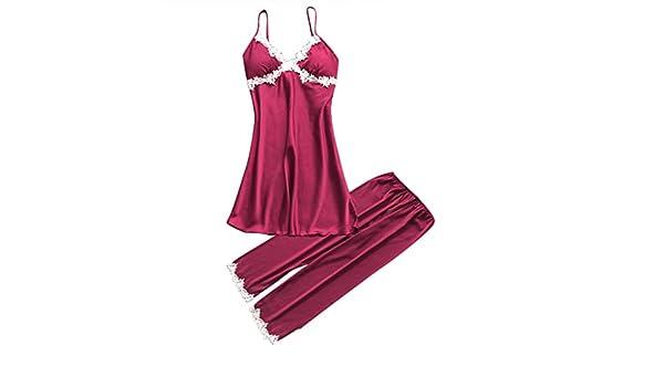 Internet_Mujer Sexy Pijamas de Camisola de Gran tamaño + Pijama de Pantalones Conjunto de 2 pcs, Escotado Lace Lenceria de Chaleco, Babydoll Bowknot Ropa de ...