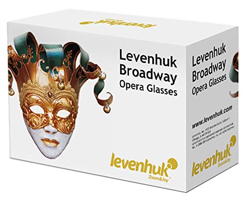 Levenhuk Broadway 325F Opera Glasses with LED Light and Chain, White