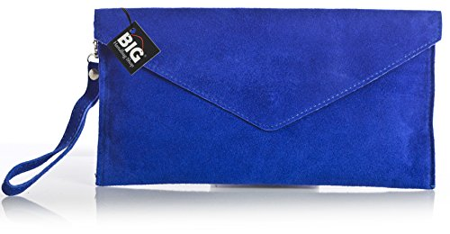 tipo Azul noche suave elctrico clutch LiaTalia Bolso sobre gamuza de Liquidacin de 'Leah' z 7wqwIS