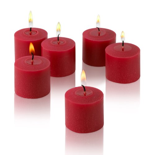Red Votive Candles - Box of 72 Unscented Candles - 10 Hour Burn Time - Bulk Candles for Weddings, Parties, Spas and Decorations
