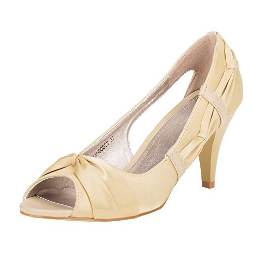 Ital-Design - Zapatos de vestir de Satén para mujer Beige - champán