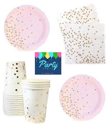 - Pink and Gold Party Supplies - Elegant Party Supplies - Gold Foil Stamp Party Supplies For 12 Guests Including Dessert/Appetizer Plates, Napkins & Cups