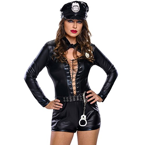 YeeATZ Women's Stylish 8pcs Female Cop Costume(Size,L) (Homemade Bumble Bee Costume For Adults)