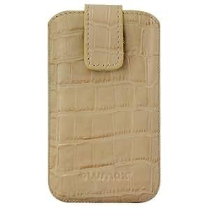 Original Blumax–Funda de cuero para LG P500Optimus One Guard cocodrilo/cocodrilo Beige con funda, teléfonos, Case, Carcasa, Estuche, Slide, Protector de pantalla, Secure