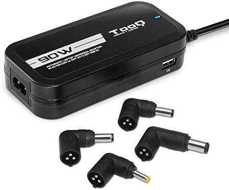 TooQ TQLC-90BS02AT - Cargador adaptador universal automatico de 90 W para ordenador portatil, Salida 2xUSB para cargar dispositivos, incluye 12 conectores ...