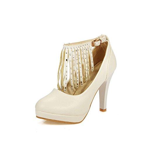 Plateforme Highxe Grande Robe Taille Tassel Beige Buckle Chaussures Heels Étanche 35 High One Ladies Word De Fête YzOrgY