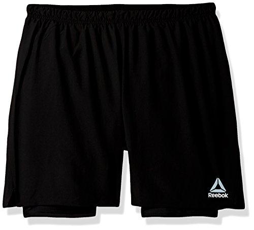 Reebok Running 2-In-1 Shorts, X-Large, Black