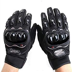 Junboys 1 Pair Motorcycle Gloves Full Finger Touch Screen for Men Women, Mittens Breathable Curved Ergonomic Design for Racing Motorbike Riding Cycling Dirt Bike Motocross. (XL Size, Black)