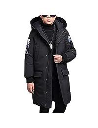 OCHENTA Boys Winter Hooded Mid-Long Cotton Coat Jacket Age of 4-11