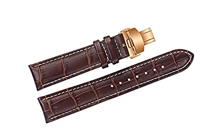 24mm Brown Luxury Replacement Leather Watch Straps/Bands Handmade with White Contrast Stitching for Swiss High-end Brands with Rose Gold Deployment Clasp