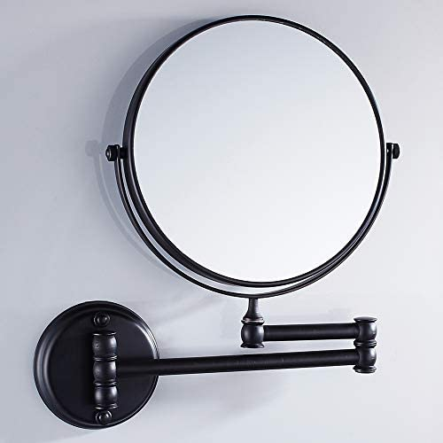 VELIMAX 8-Inch Solid Brass Bathroom Vanity Mirror Wall Mounted Folding Makeup Double Side Magnification Mirror Antique Style Black