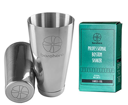 Logo Shaker Set - Boston Cocktail Shaker Stainless Steel Weighted Cups 2 Piece Bar Tool Set - 27 & 18 oz - Perfect Gift for Mixing a Drink Like Martini, Margarita, Mojito as a Professional Bartender