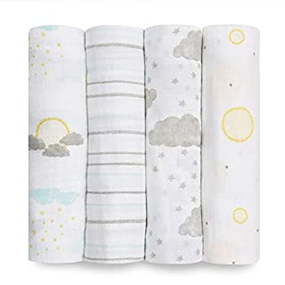 Aden by aden + anais Swaddle Blanket, Muslin Blankets for Girls & Boys, Baby Receiving Swaddles, Ideal Newborn Gifts, Unisex Infant Shower Items, Wearable Swaddling Set,4 Pk,Partly Sunny