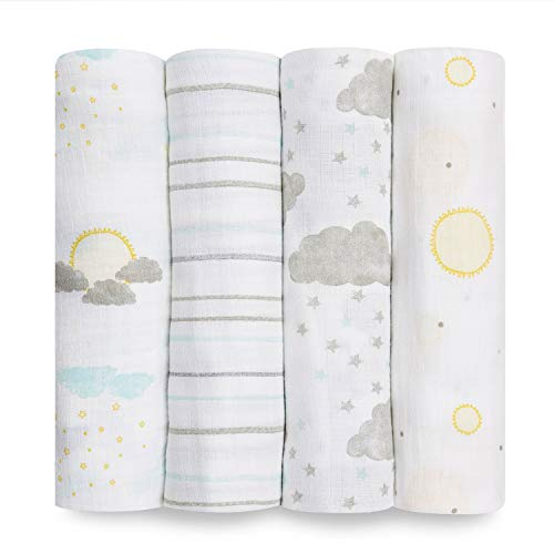 aden + anais Essentials Swaddle Blanket, Muslin Blankets for Girls & Boys, Baby Receiving Swaddles, Newborn Gifts, Infant Shower Items, Wearable Swaddling Set,4 Pk, Partly Sunny