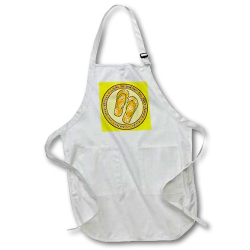 3dRose apr/_77543/_2 Life is Better in Flip Flops-Orange and Yellow-Medium Length Apron with Pouch Pockets 22 by 24-Inch